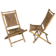 Pair of Faux Bamboo Campaign Chairs in the Manner of Maison Jansen