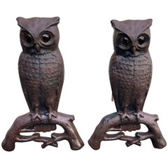 Cast Iron Owl Andirons with Glass Eyes, Late 19th Century Westport, Ma