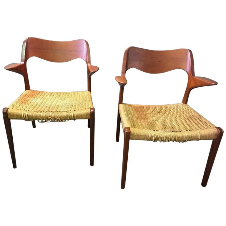 Pair of Niels Otto Moller Model 55 Armchairs