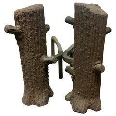 Pair of Faux Bois Andirons