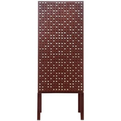 Contemporary Cubic Iron Cabinet with Silver or Gold Applications