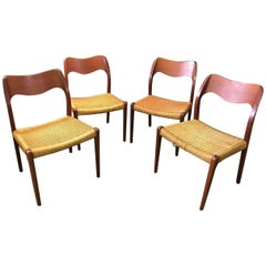 Set of Four Niels Otto Moller Model 71 Paper Cord Dining Chairs