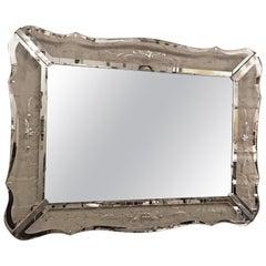 Large Scalloped Glass Frame Venetian Mirror