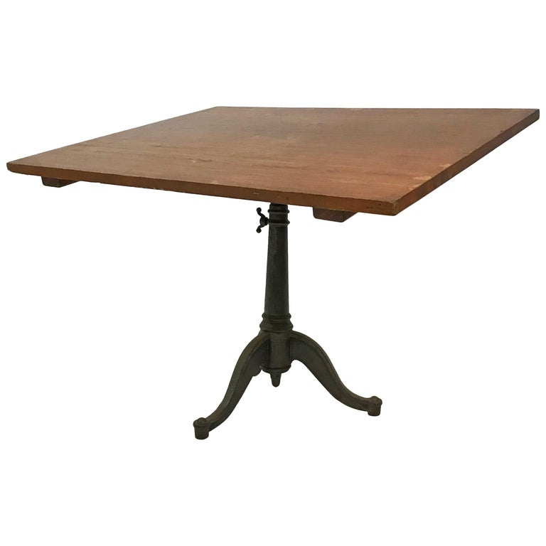 Large Industrial Cherry Drafting Table Cast Iron Pedestal Base For Sale