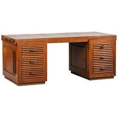 Modernist Desk by Charles Dudouyt in Oak, Art Deco