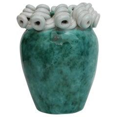 Italian Art Deco Turquoise and White Marbled Ceramic Vase, 1930s