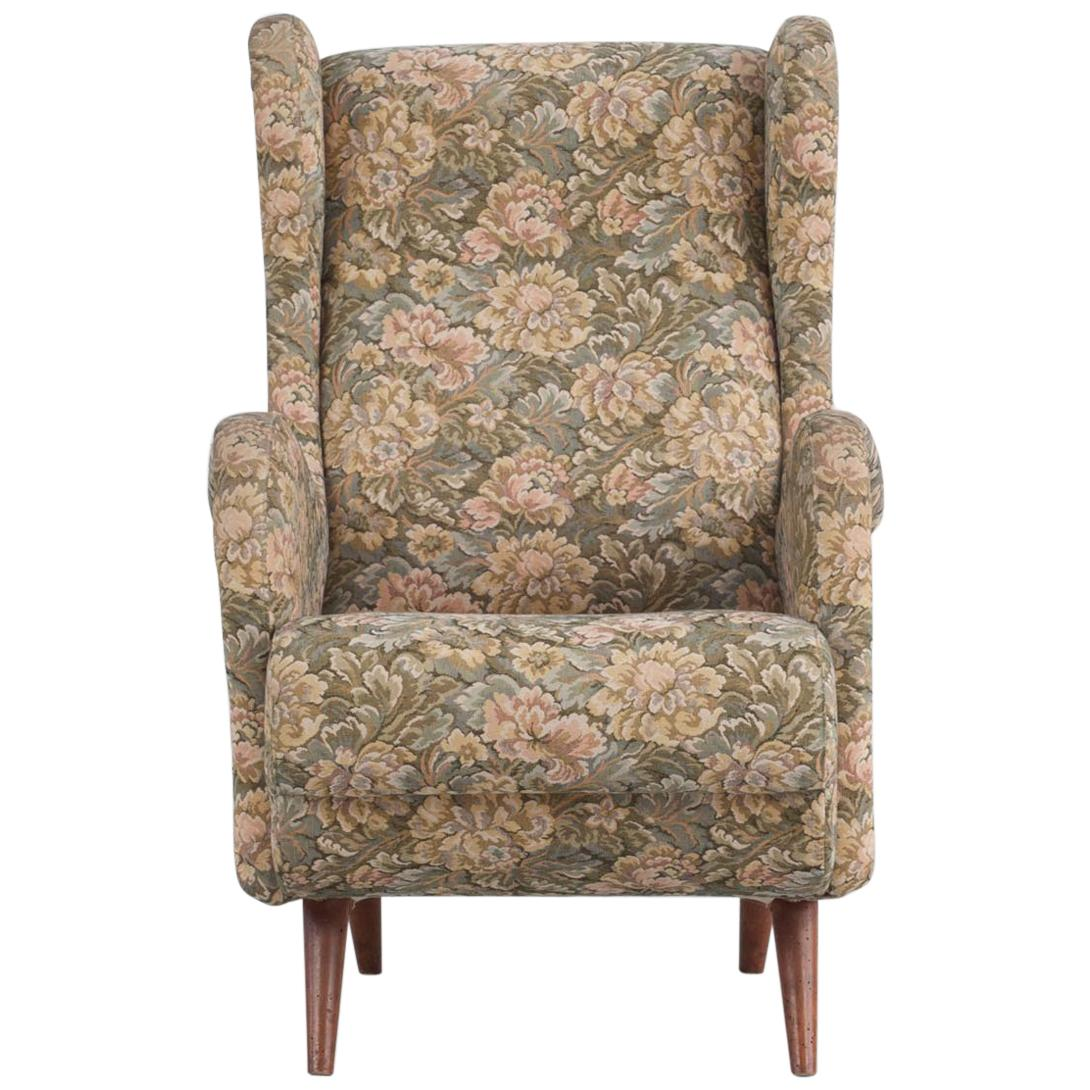 Italian Floral Patterned Fabric Wingback Chair, 1950s