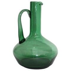 1960s Italian Green Glass Pitcher
