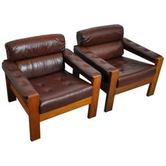 Scandinavian Leather and Oak Lounge Chairs, 1970s