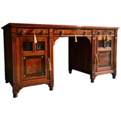 Gillows of Lancaster Walnut Twin Pedestal Desk Aesthetic Period Gothic