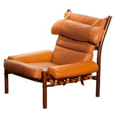 "1968, Cognac Leather Safari Chair ""Inca"" by Arne Norell Möbler AB, Sweden"