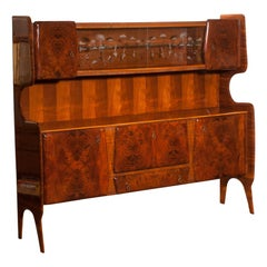 Italian Highboard / Buffet Cabinet in Burl Wood and Walnut by Vittorio Dassi