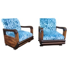 Pair of Art Deco Club Armchairs with Turquoise Velvet by Lizzo, Italy