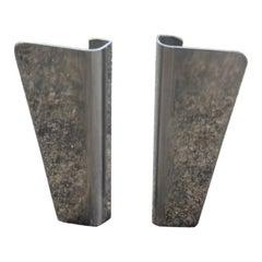 Pair of Door Handles in Steel Very Modern Geometric Shape