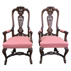 Burl Walnut Queen Anne Style Pair of Armchairs, circa 1940