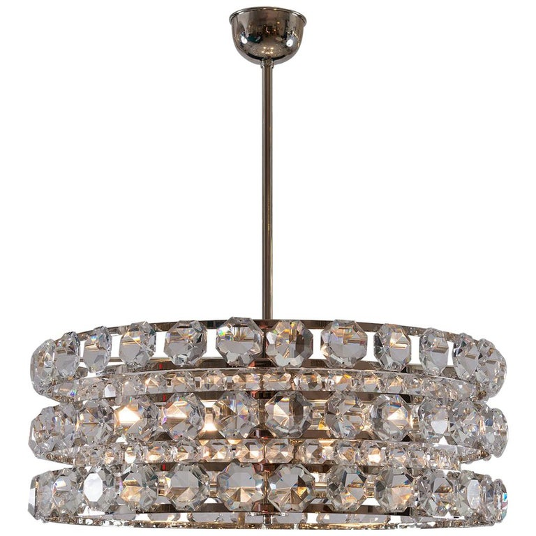 Mid Century Modern 1960s Crystal Chandelier by Woka Lamps, Vienna For Sale