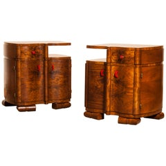 1920s Burl Wood Art Deco Bedside Tables