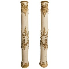 18th Century Antique Pair of Wooden Columns Lacquered with Gilded Sculptures