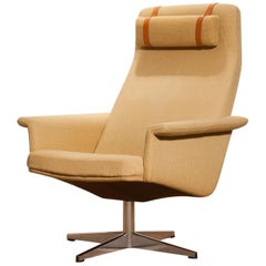 1960s, Gold Yellow Swivel Lounge Chair by DUX, Sweden
