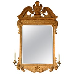18th Century Carved Giltwood Gesso Mirror with Candle Sconces