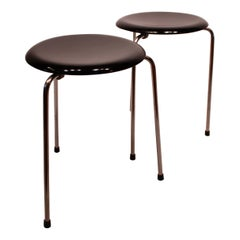 Pair of Dot Stools in Black by Arne Jacobsen and Fritz Hansen, from 1971