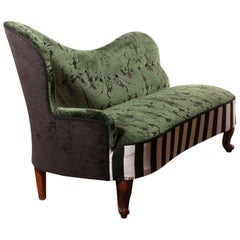 1950s Green Jacquard Velvet and Velours Piano Stripe Sofa or Chaise Longue