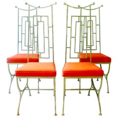 Set of Four Mackintosh Style Iron Chairs, 1960s