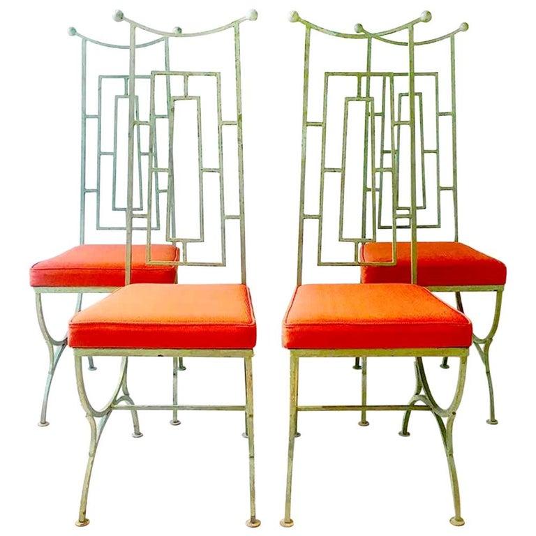 Set of Four Mackintosh Style Iron Chairs, 1960s