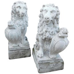 19th Century Antique Pair of Artificial Stone Lions