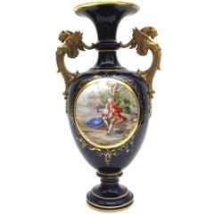 Big KPM Berlin Porcelain Vase with Watteu Scene and Lion Heads in Cobalt Blue