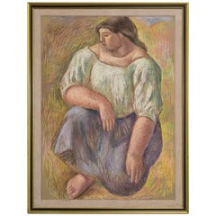 Large Framed Pastel by Mary Audsley Titled Kneeling Woman, 1993