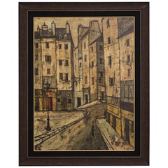Large Charles Levier Oil Painting of a Street Scene Signed 1959