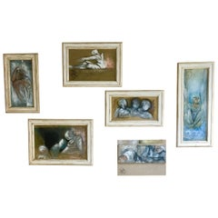 Set of 7 Framed Oil Canvas Paintings by Micky Pfau, 1990s