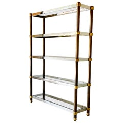 French Five-Tier Copper, Brass and Chrome Etagere, 1970s