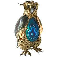 Richard Faure Sculptural Brass and Agate Illuminated Owl, 1980s