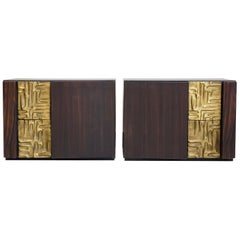 Pair of Macassar Ebony Credenzas with Bronze Details by Luciano Frigerio