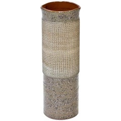 Ceramic Cylindrical Floor Vase by Thomas Hellström for Nittssjö, Sweden, 1960s