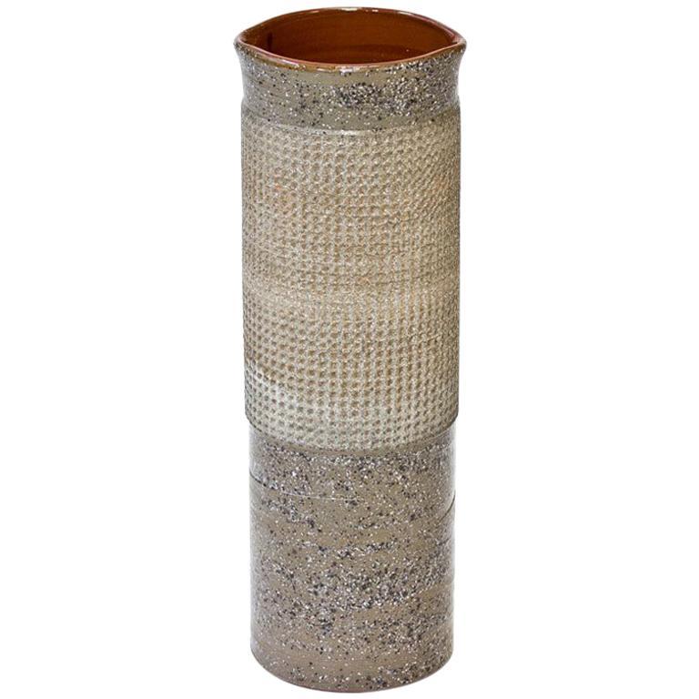Ceramic Cylindrical Floor Vase by Thomas Hellström for Nittssjö, Sweden, 1960s For Sale