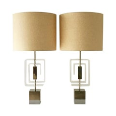 Pair of Chrome and Lucite Spiral Table Lamps, 1970s