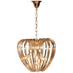 Partly Gilded and Brass and Crystal Venini Murano Pendant Chandelier Italy 1960s