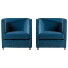Large Pair of Steel Framed Upholstered Armchairs