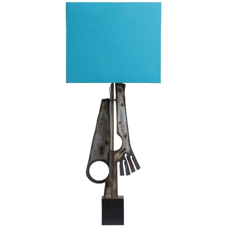 Oversized Torch Cut Brutalist Metal Table Lamp, 1960s For Sale