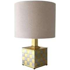 Brass and Chrome Patchwork Detailed Table Lamp, 1970s