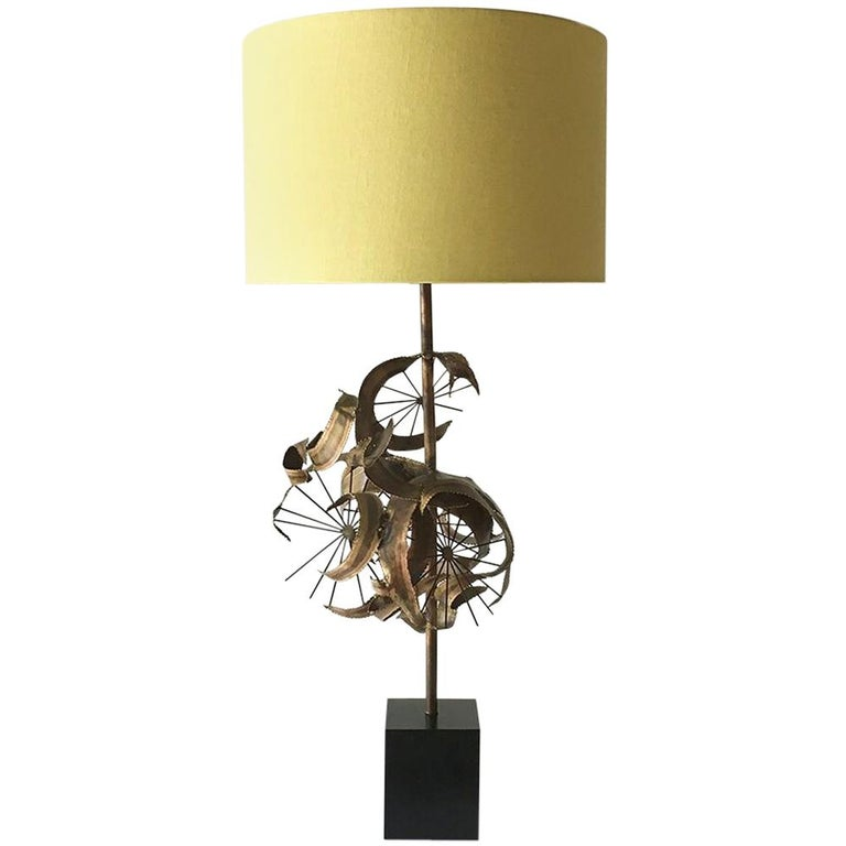 Single Brutalist Curtis Jere Attributed Metal Table Lamp, 1970s For Sale