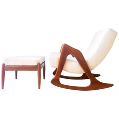 Adrian Pearsall Rocking Chair and Stool, 1960s