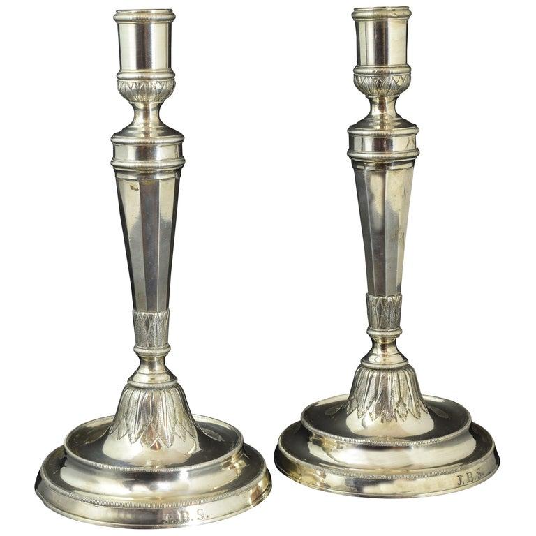 Zwei Kerzenständer, F. Roca, Barcelona, Spanien, 19. Jahrhundert 1
