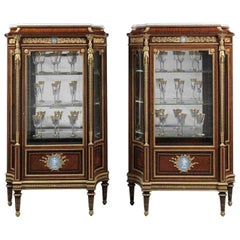 Pair of Louis XVI Style Vitrines with Wedgwood Plaques by Zwiener, circa 1880