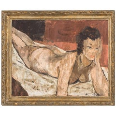 Female Nude Modernist Painting by Charles Levier, 1950s