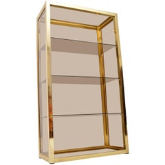 1970s Vintage Italian Brass Display Cabinet or Bookcase by Zevi