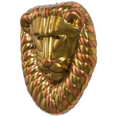 Sergio Bustamante Brass and Copper Lion Wall Mask, 1960s